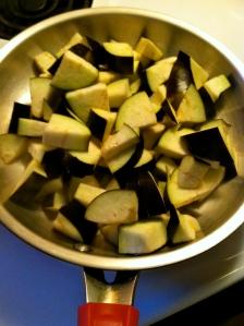 Add cubed eggplant