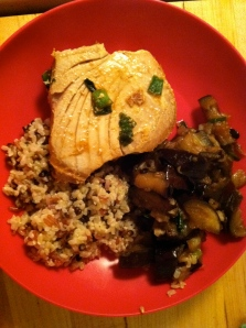 Chinese Eggplant with Ahi Tuna Steaks and Whole Grain Rice