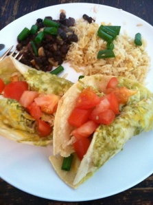 I made my enchiladas verdes with black beans and brown rice. So yummy!