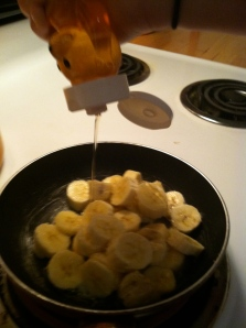 Drizzle one teaspoon of honey onto bananas and stir.